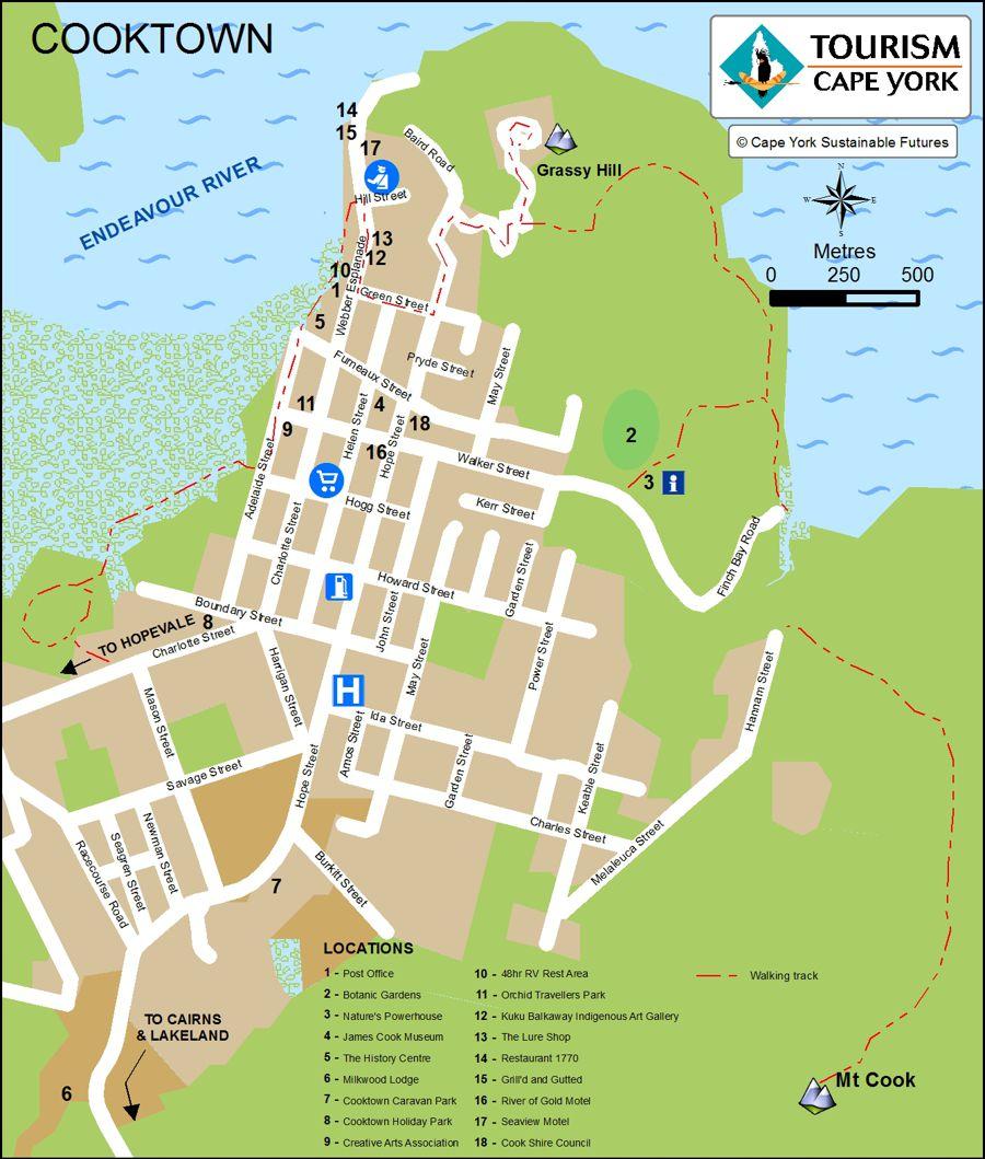 Map showing John Street in cooktown
