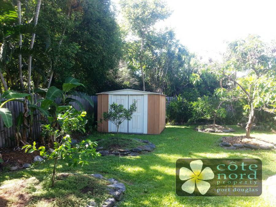 Garden shed, tropical fruit trees
